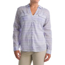 Columbia Sportswear PFG Sun Drifter Shirt - Long Sleeve (For Plus Size Women) in Pale Purple Stripe - Closeouts