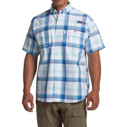 Columbia Sportswear PFG Super Bahama Shirt - UPF 30, Short Sleeve (For Men) in Vivid Blue Large Plaid - Closeouts