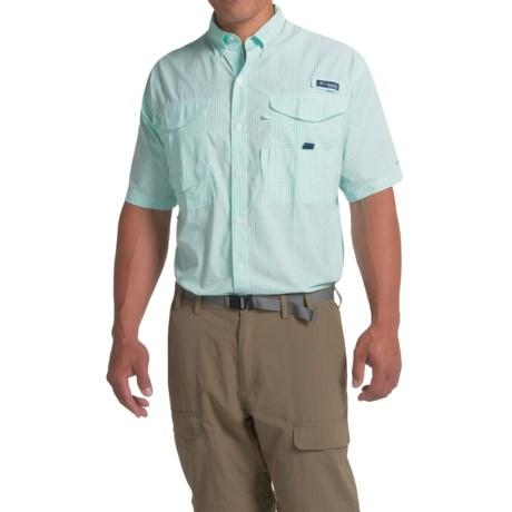 Columbia Sportswear PFG Super Bonehead Classic Shirt - UPF 30, Short Sleeve (For Big and Tall Men) in Gulf Stream Gingham
