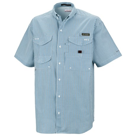 Columbia Sportswear PFG Super Bonehead Classic Shirt - UPF 30, Short Sleeve (For Men) in Blue Heron Gingham