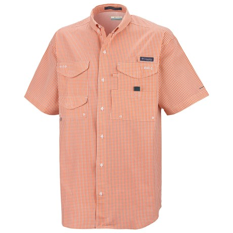 Columbia Sportswear PFG Super Bonehead Classic Shirt - UPF 30, Short Sleeve (For Men) in Bright Peach/Gingham