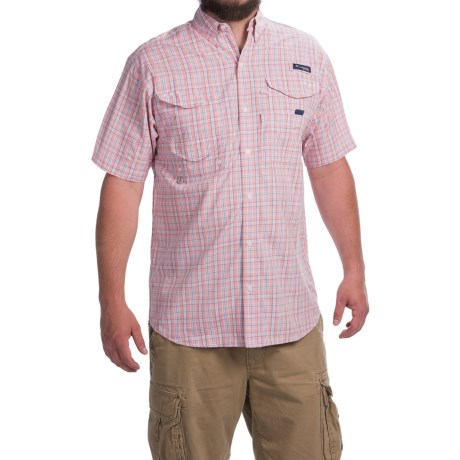 Columbia Sportswear PFG Super Bonehead Classic Shirt - UPF 30, Short Sleeve (For Men) in Sorbet Small Check