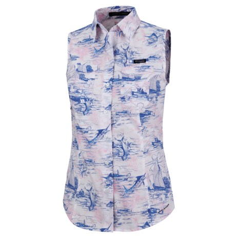 Columbia Sportswear PFG Super Bonehead Shirt - UPF 30, Sleeveless (For Women) in Vivid Blue/Key West Toile Prt
