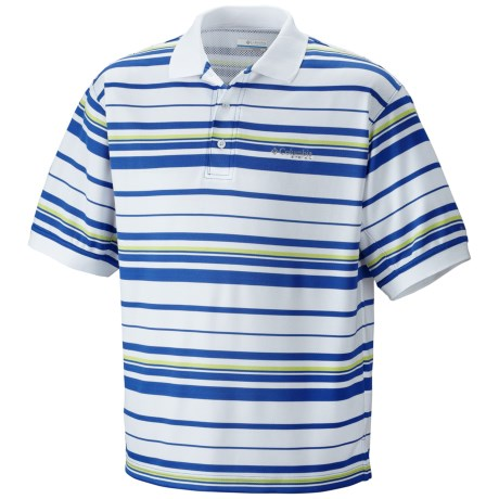 Columbia Sportswear PFG Super Cast Polo Shirt - UPF 30, Short Sleeve (For Men) in Vivid Blue Stripe