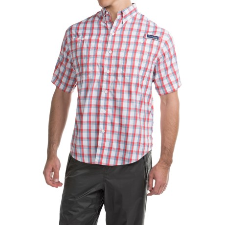 Columbia Sportswear PFG Super Tamiami Shirt - UPF 40, Short Sleeve (For Men) in Sunset Red Plaid