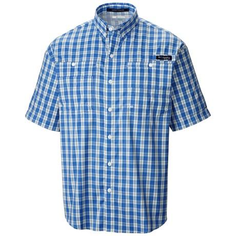 Columbia Sportswear PFG Super Tamiami Shirt - UPF 40, Short Sleeve (For Men) in Vivid Blue/Check