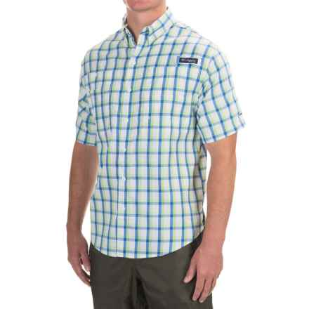 Columbia Sportswear PFG Super Tamiami Shirt - UPF 40, Short Sleeve (For Men) in Vivid Blue Plaid - Closeouts