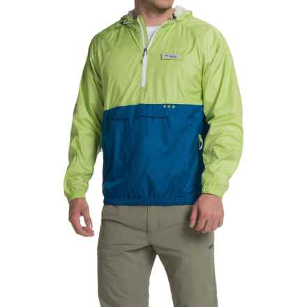 Columbia Sportswear PFG Terminal Spray Anorak Jacket - UPF 40, Zip Neck (For Men) in Napa Green/Marine Blue - Closeouts