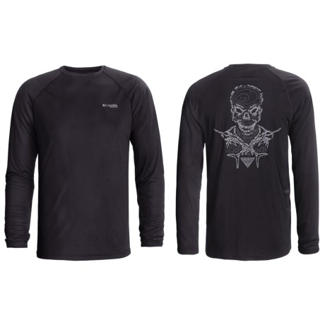 Columbia Sportswear PFG Terminal Tackle Shirt - UPF 50, Long Sleeve (For Men) in Black/Island Skull