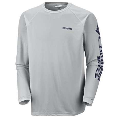 Columbia Sportswear PFG Terminal Tackle Shirt - UPF 50, Long Sleeve (For Men) in Cool Grey Nightshade Logo