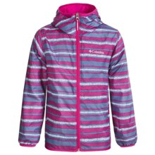 Columbia Sportswear Pixel Grabber II Wind Jacket (For Kids) in Haute Pink Stripe - Closeouts