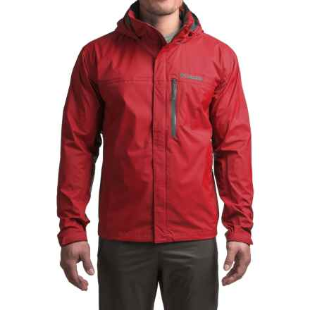 Columbia Sportswear Pouration Omni-Tech® Rain Jacket - Waterproof (For Big Men) in Mountain Red - Closeouts