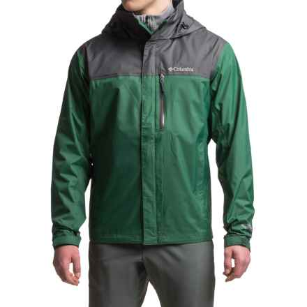 Columbia Sportswear Pouration Omni-Tech® Rain Jacket - Waterproof (For Men) in Wildwood Green/Shark - Closeouts