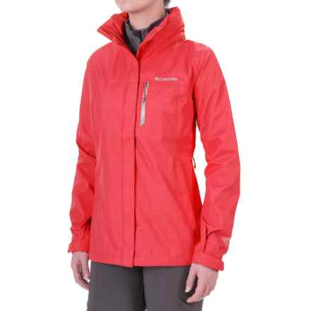 Columbia Sportswear Pouration Omni-Tech® Rain Jacket - Waterproof (For Women) in Red Camellia/Spray - Closeouts