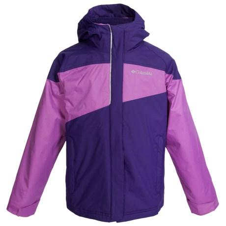 Columbia Sportswear Powder Alley Long Jacket - Insulated, Omni-Shield® (For Girls) in Hyper Purple/Blossom Pink