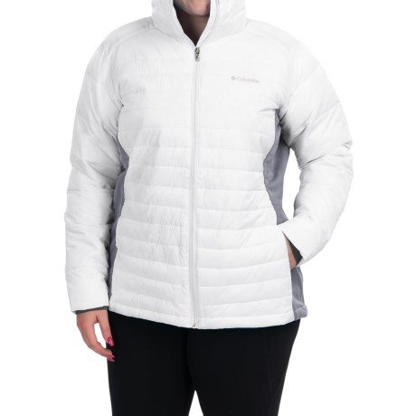Columbia Sportswear Powder Pillow Hybrid Jacket - Insulated (For Plus Size Women) in White/Tradewinds Grey