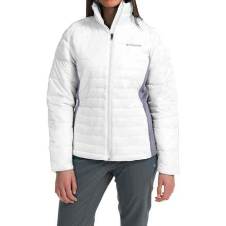 Columbia Sportswear Powder Pillow Hybrid Jacket - Insulated (For Women) in White/Tradewinds Grey - Closeouts