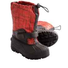 Columbia Sportswear Powderbug Forty Print Boots - Waterproof (For Youth Boys and Girls) in Sail Red/Bronco - Closeouts
