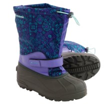 Columbia Sportswear Powderbug Forty Print Pac Boots (For Big Kids) in Purple Lotus/Gulf Stream - Closeouts