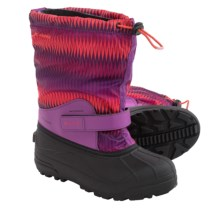 Columbia Sportswear Powderbug Forty Print Winter Boots (For Big Kids) in Razzle/Corange - Closeouts