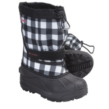Columbia Sportswear Powderbug Plus II Print OutDry® Winter Boots - Waterproof (For Youth) in Black/Afterglow - Closeouts