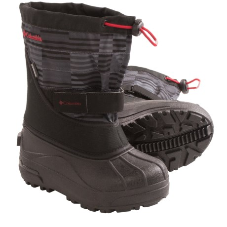 Columbia Sportswear Powderbug Plus II Print Snow Boots - Waterproof (For Kids) in Black/Chili