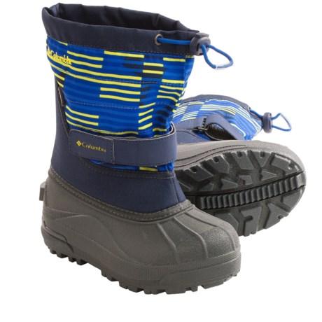 Columbia Sportswear Powderbug Plus II Print Snow Boots - Waterproof (For Kids) in Collegiate Navy/Laser Lemon