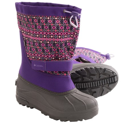 Columbia Sportswear Powderbug Plus II Print Snow Boots - Waterproof (For Youth) in Uw Purple/Whitened Violet