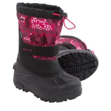 Columbia Sportswear Powderbug Plus II Print Snow Boots - Waterproof, Insulated (For Little Kids) in Black/Bright Rose - Closeouts