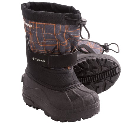 Columbia Sportswear Powderbug Plus II Print Winter Boots - Waterproof (For Kids) in Charcoal/Gallion