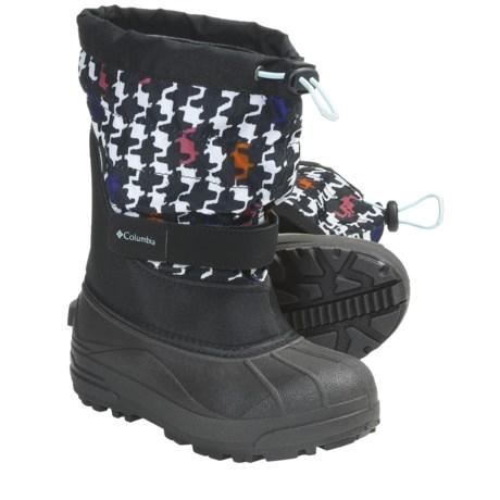 Columbia Sportswear Powderbug Plus II Print Winter Boots - Waterproof (For Youth) in Black/Clear Blue