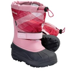 Columbia Sportswear Powderbug Plus II Print Winter Boots - Waterproof (For Youth) in Satin Pink/Afterglow