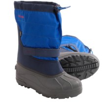 Columbia Sportswear Powderbug Plus II Snow Boots - Waterproof (For Kids) in Collegiate Navy/Chili - Closeouts