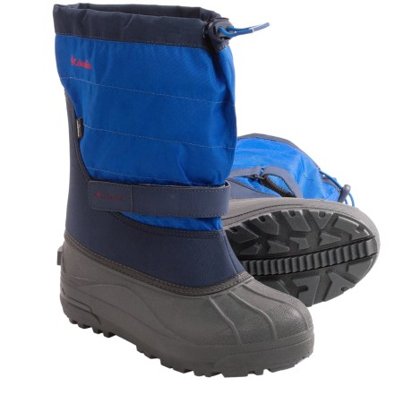 Columbia Sportswear Powderbug Plus II Snow Boots - Waterproof (For Kids) in Collegiate Navy/Chili
