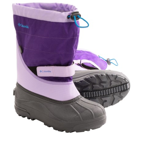 Columbia Sportswear Powderbug Plus II Snow Boots - Waterproof (For Youth) in Whitened Violet/Dark Compass