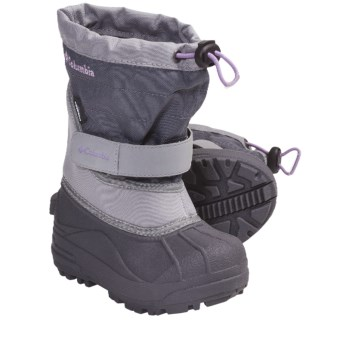 Columbia Sportswear Powderbug Plus II Winter Boots - Waterproof (For Kids) in Charcoal/Hydrangea