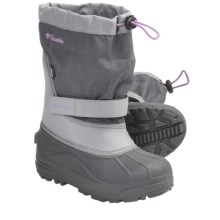 Columbia Sportswear Powderbug Plus II Winter Boots - Waterproof (For Youth) in Charcoal/Hydrangea - Closeouts