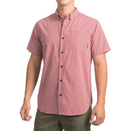 Columbia Sportswear Rapid Rivers II Shirt - Short Sleeve (For Men) in Sunset Red Small Plaid