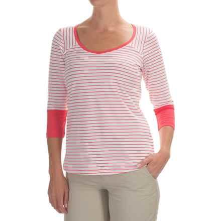 Columbia Sportswear Reel Beauty III Shirt - UPF 15, 3/4 Sleeve (For Women) in Bright Geranium Mini Stripe - Closeouts