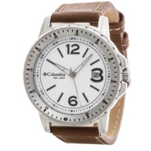Columbia Sportswear Ridgeback Watch - Leather Band in White/Silver/Brown - Closeouts