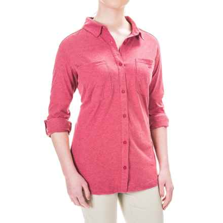 Columbia Sportswear Saturday Trail Omni-Wick® Shirt - Long Sleeve (For Plus Size Women) in Red Orchid Heather - Closeouts