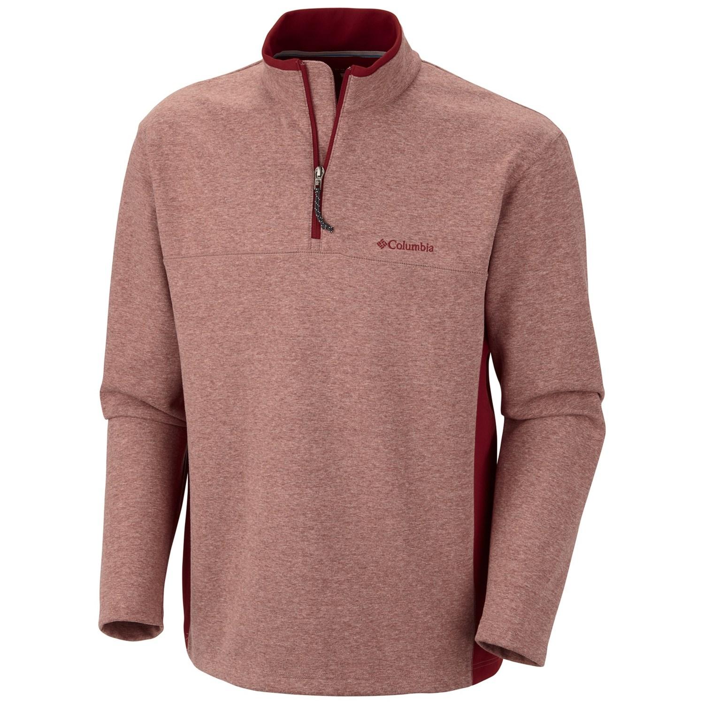 Columbia sportswear schuss pullover shirt zip neck long for Mens long sleeve pullover shirts
