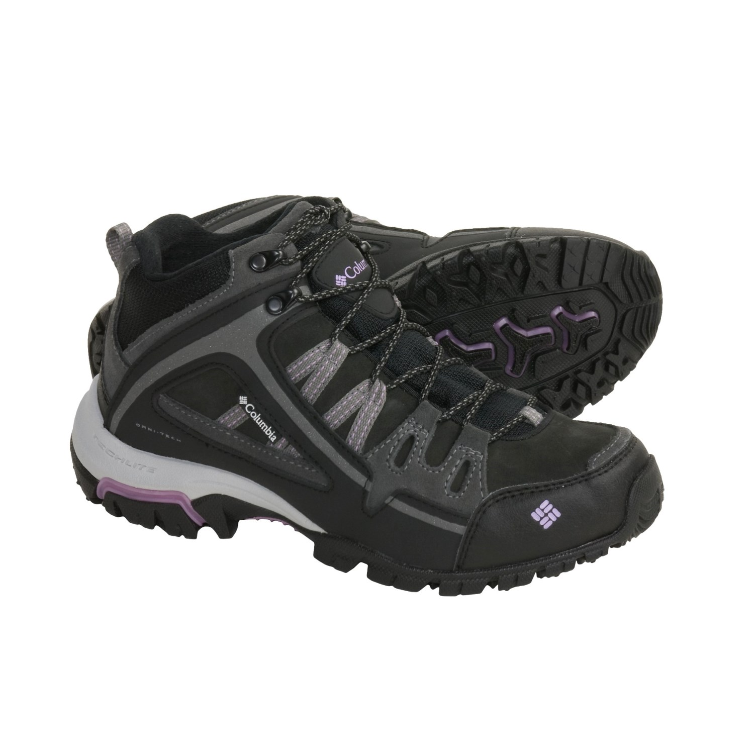 Mid Leather Hiking Boots - Waterproof (For Women) in Black/Hydrange