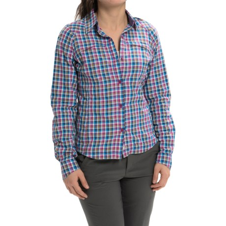 Columbia Sportswear Silver Ridge Ripstop Shirt - UPF 30, Long Sleeve (For Women) in Harbor Blue Ombre Plaid