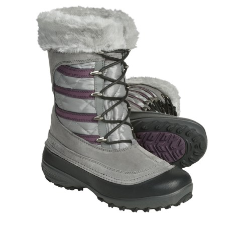 Columbia Sportswear Slopeside Omni-Heat® Winter Boots (For Women) in Light Grey/Crushed Berry
