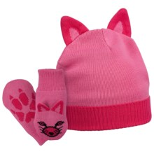 Columbia Sportswear Snow Fox Beanie Hat and Mittens Set (For Kids) in Pink Taffy/Bright Rose - Closeouts