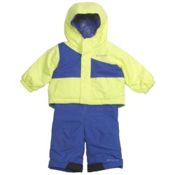 Columbia Sportswear Snow Slush Reversible Jacket and Bib Set (For Infants) in Neon Light/Light Grape