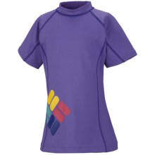 Columbia Sportswear Sun's Up Sunguard - UPF 50, Short Sleeve (For Youth Girls) in Purple Arrow - Closeouts