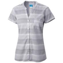 Columbia Sportswear Sun Drifter Shirt - Short Sleeve (For Women) in Collegiate Navy Stripe - Closeouts