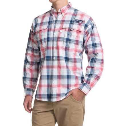 Columbia Sportswear Super Bahama Shirt - UPF 30, Long Sleeve (For Men) in Sunset Red Large Plaid - Closeouts